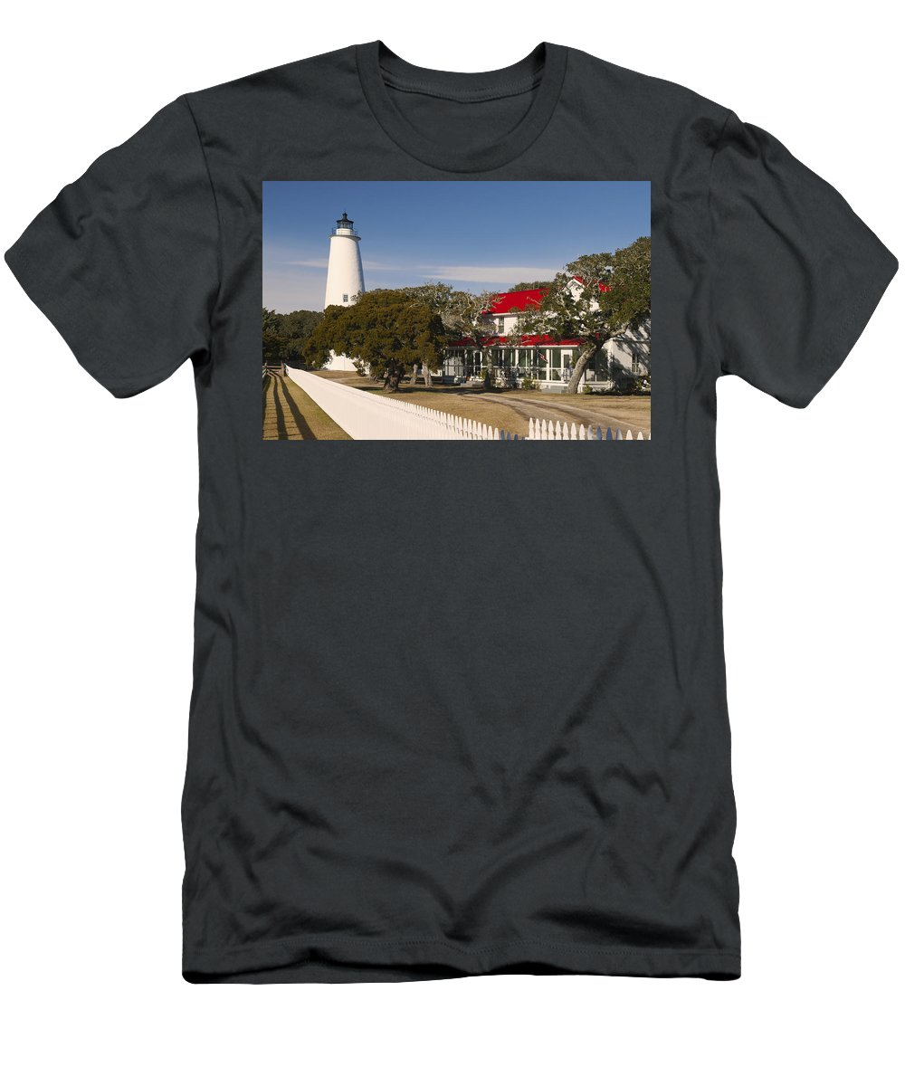 Ocracoke Island Lighthouse Men's T-Shirt (Athletic Fit) featuring the photograph Ocracoke Island Lighthouse Img 3529 by Greg Kluempers