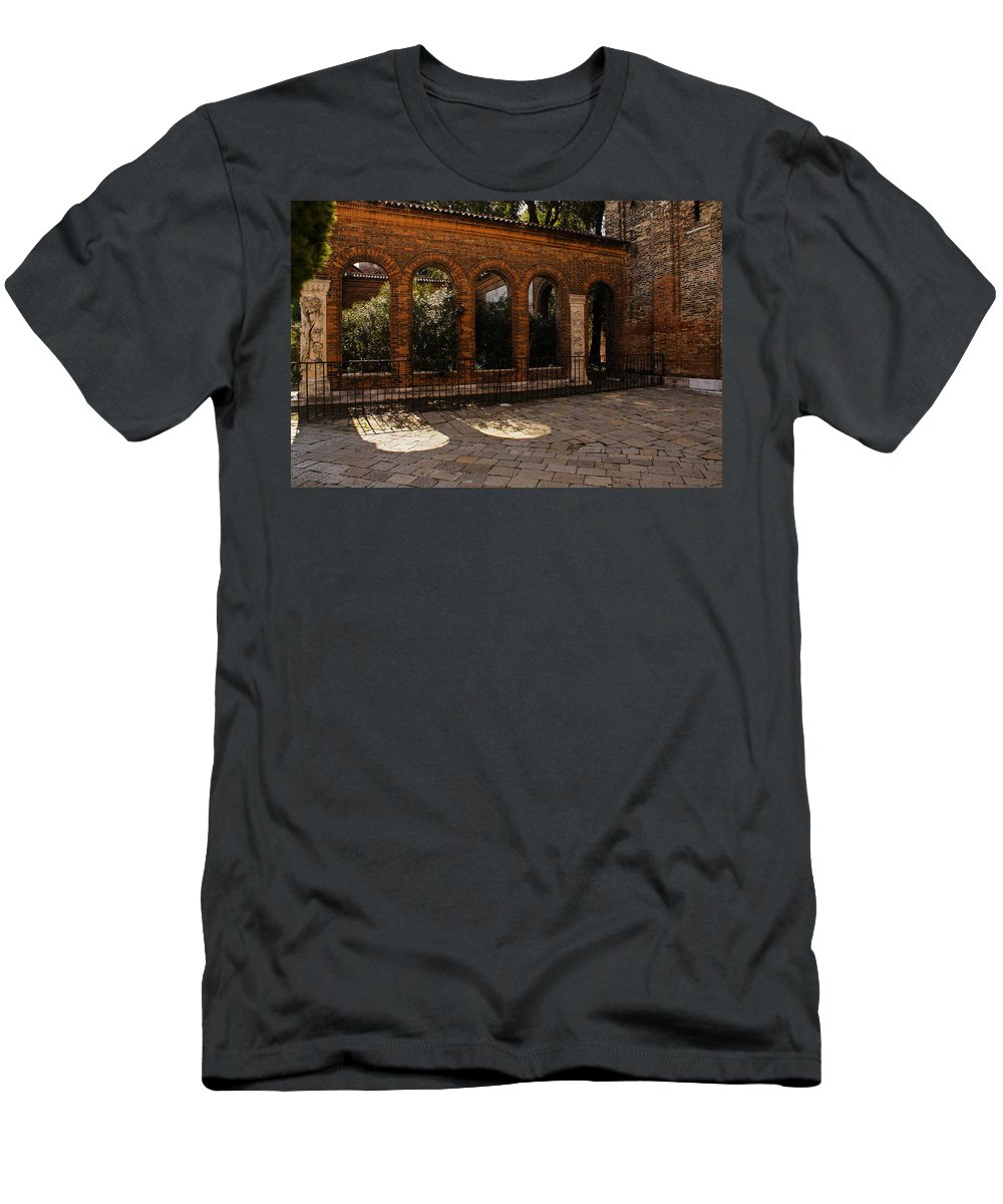 Courtyards Men's T-Shirt (Athletic Fit) featuring the photograph Of Courtyards And Elegant Arches by Georgia Mizuleva