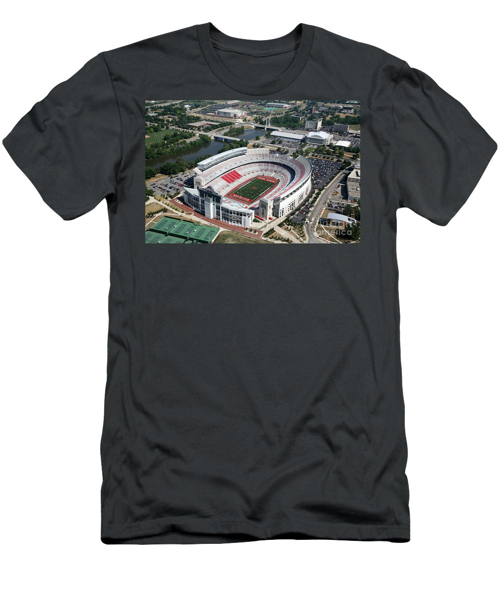 Columbus Men's T-Shirt (Athletic Fit) featuring the photograph Ohio Stadium Aerial by Bill Cobb