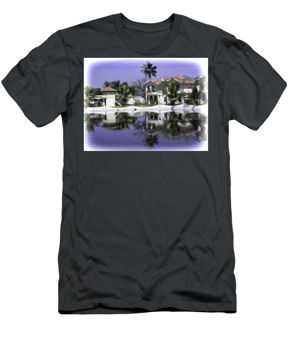 Alleppey Men's T-Shirt (Athletic Fit) featuring the digital art Oil Painting - View Of The Cottages And Palm Trees by Ashish Agarwal