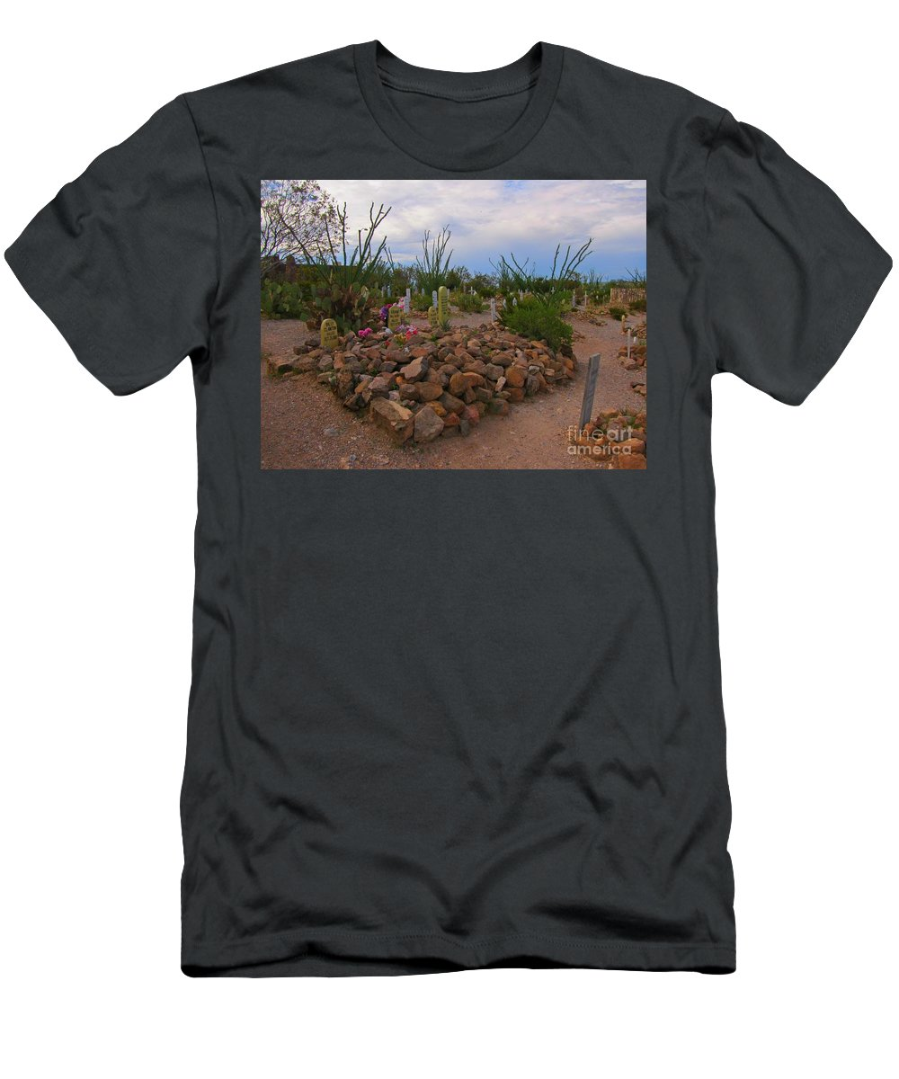 Ok Corral Gunfighter Graves Men's T-Shirt (Athletic Fit) featuring the photograph Ok Corral Gunfighter Graves by John Malone