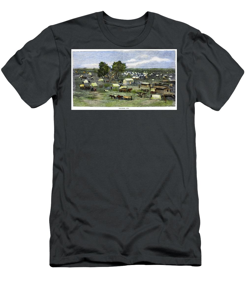 1889 Men's T-Shirt (Athletic Fit) featuring the painting Oklahoma City, 1889 by Granger