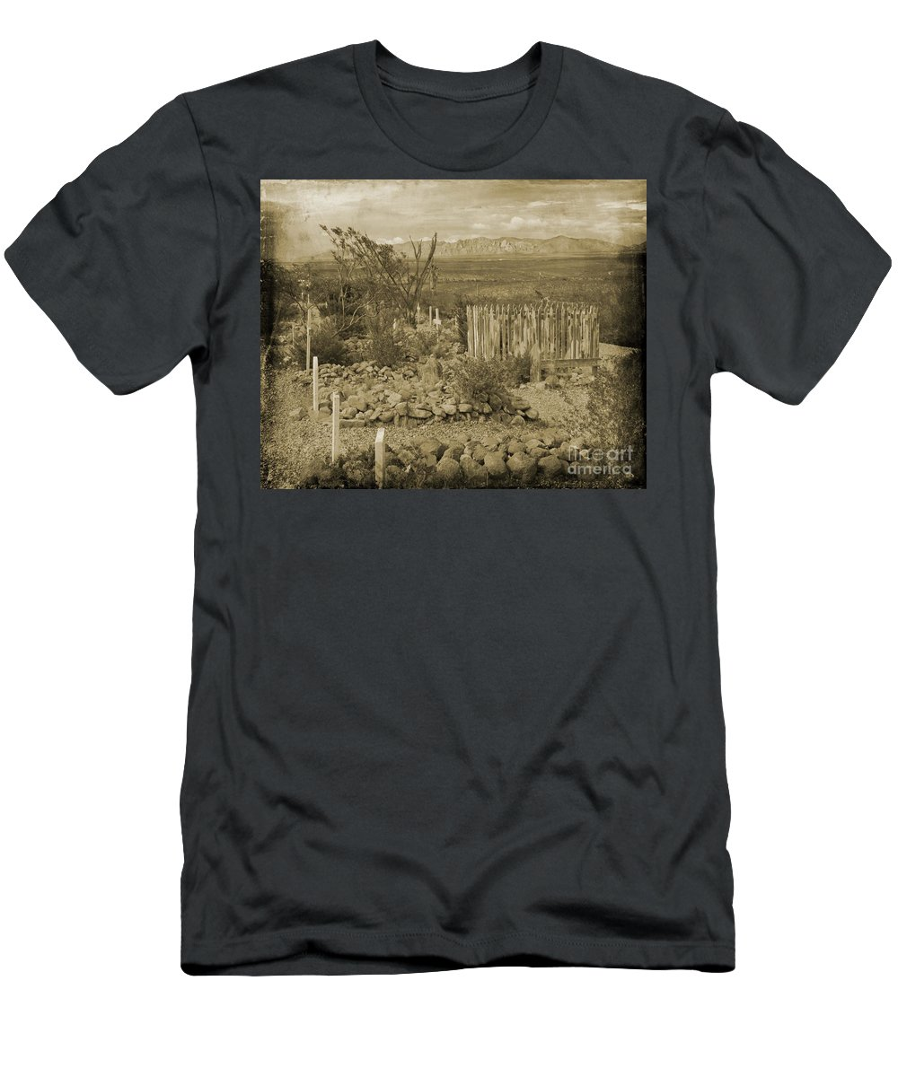 Famous Graveyards Men's T-Shirt (Athletic Fit) featuring the photograph Old Boothill Cemetery by John Malone