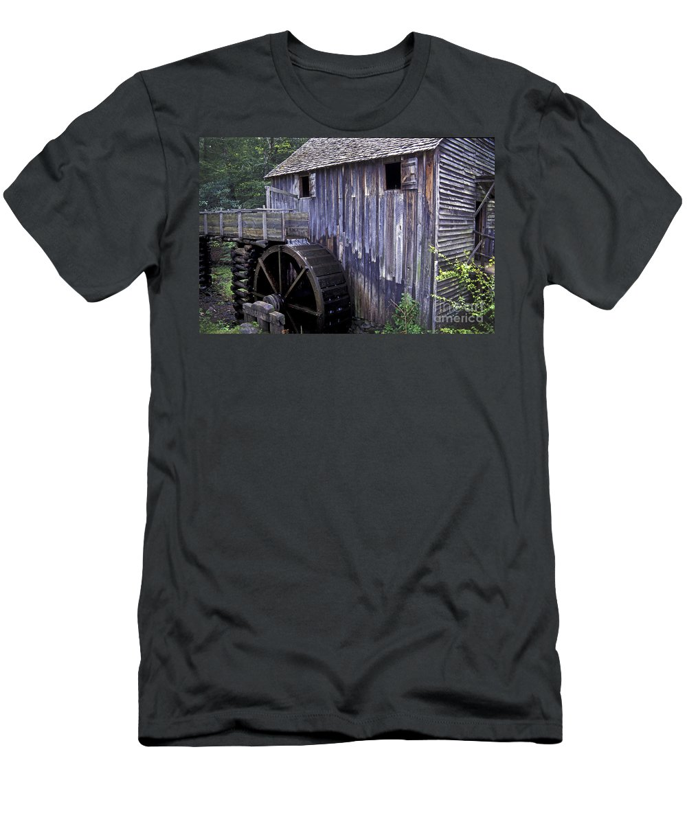 Grist Mill Men's T-Shirt (Athletic Fit) featuring the photograph Old Cades Cove Mill by Paul W Faust - Impressions of Light