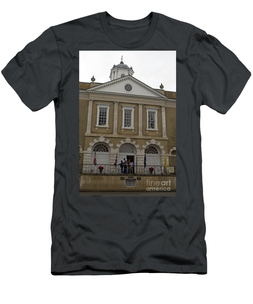 Old Exchange Men's T-Shirt (Athletic Fit) featuring the photograph Old Exchange And Customs House Charleston South Carolina by Jason O Watson