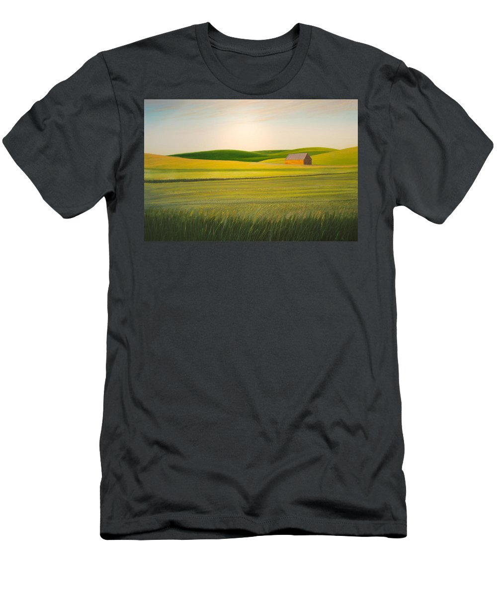 Wheat Men's T-Shirt (Athletic Fit) featuring the painting Old Highway 95 by Leonard Heid