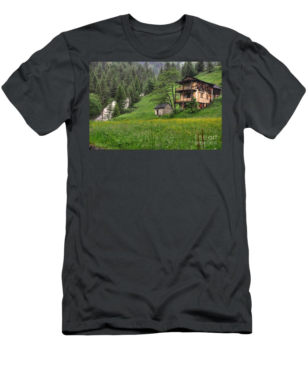 House Men's T-Shirt (Athletic Fit) featuring the photograph Old House On The Green Field by Mats Silvan