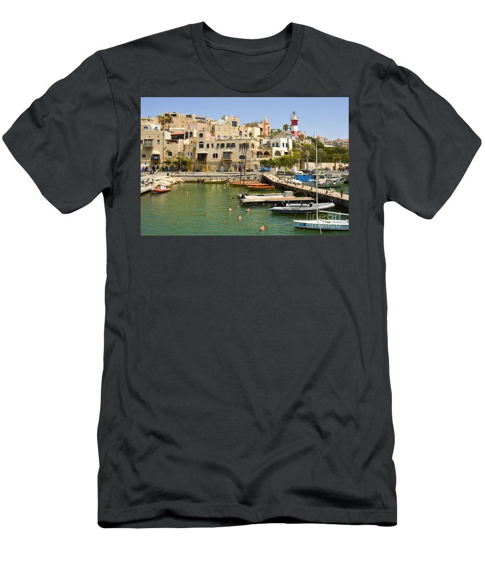 Port Men's T-Shirt (Athletic Fit) featuring the photograph Old Jaffa Port by Tomi Junger