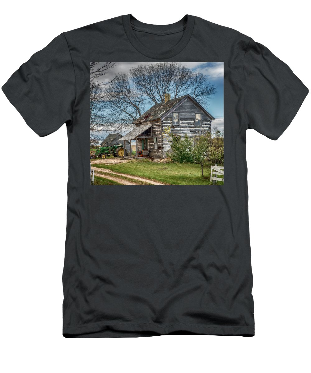 Paul Men's T-Shirt (Athletic Fit) featuring the photograph Old Log Cabin by Paul Freidlund