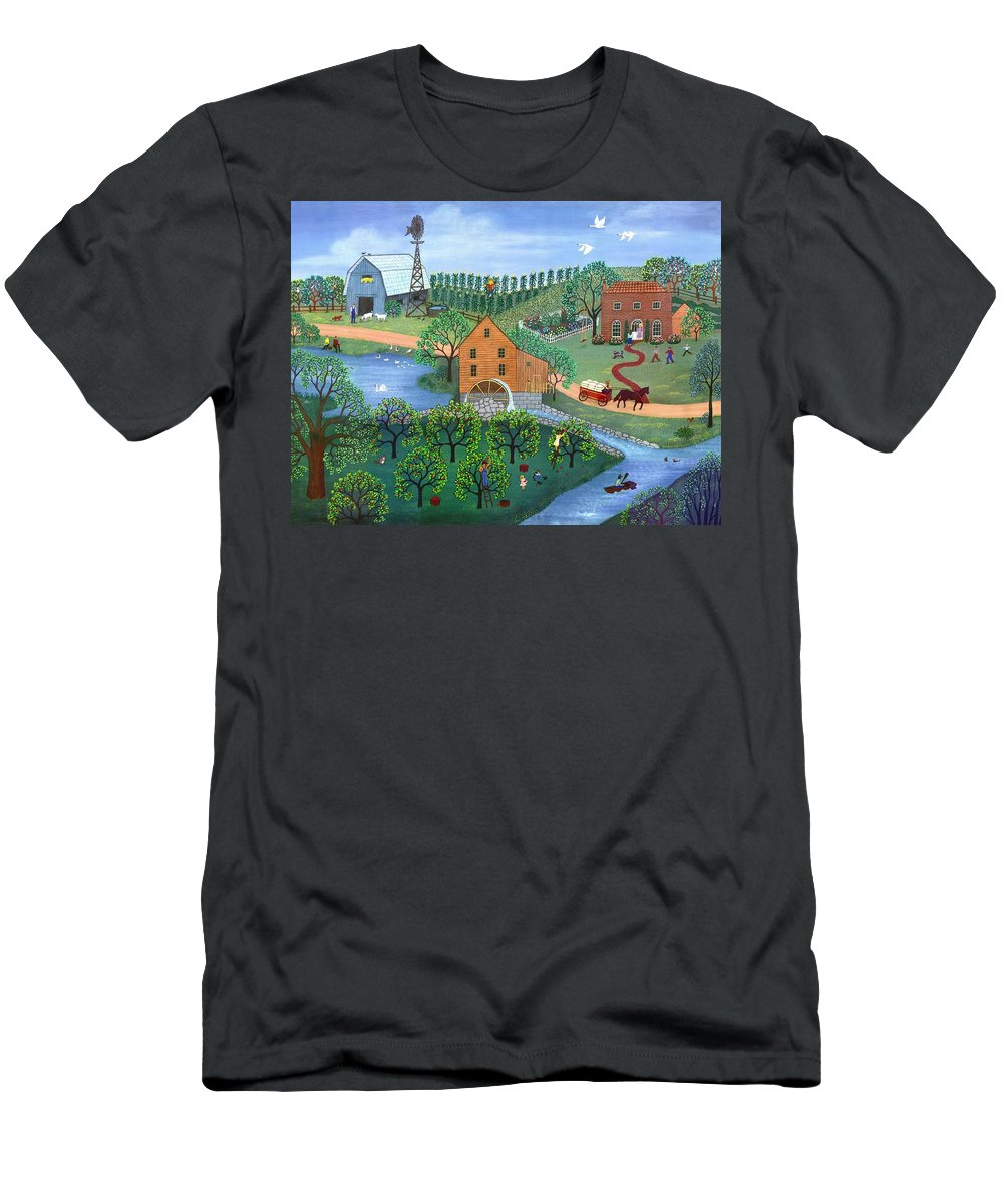 Landscape Men's T-Shirt (Athletic Fit) featuring the painting Old Mill Stream by Linda Mears