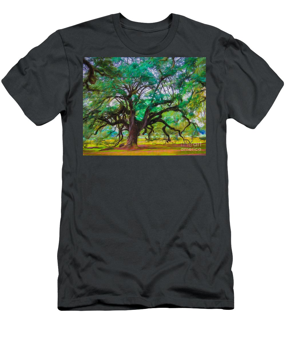 Oak Alley Men's T-Shirt (Athletic Fit) featuring the photograph Old Plantation Oak by Perry Webster