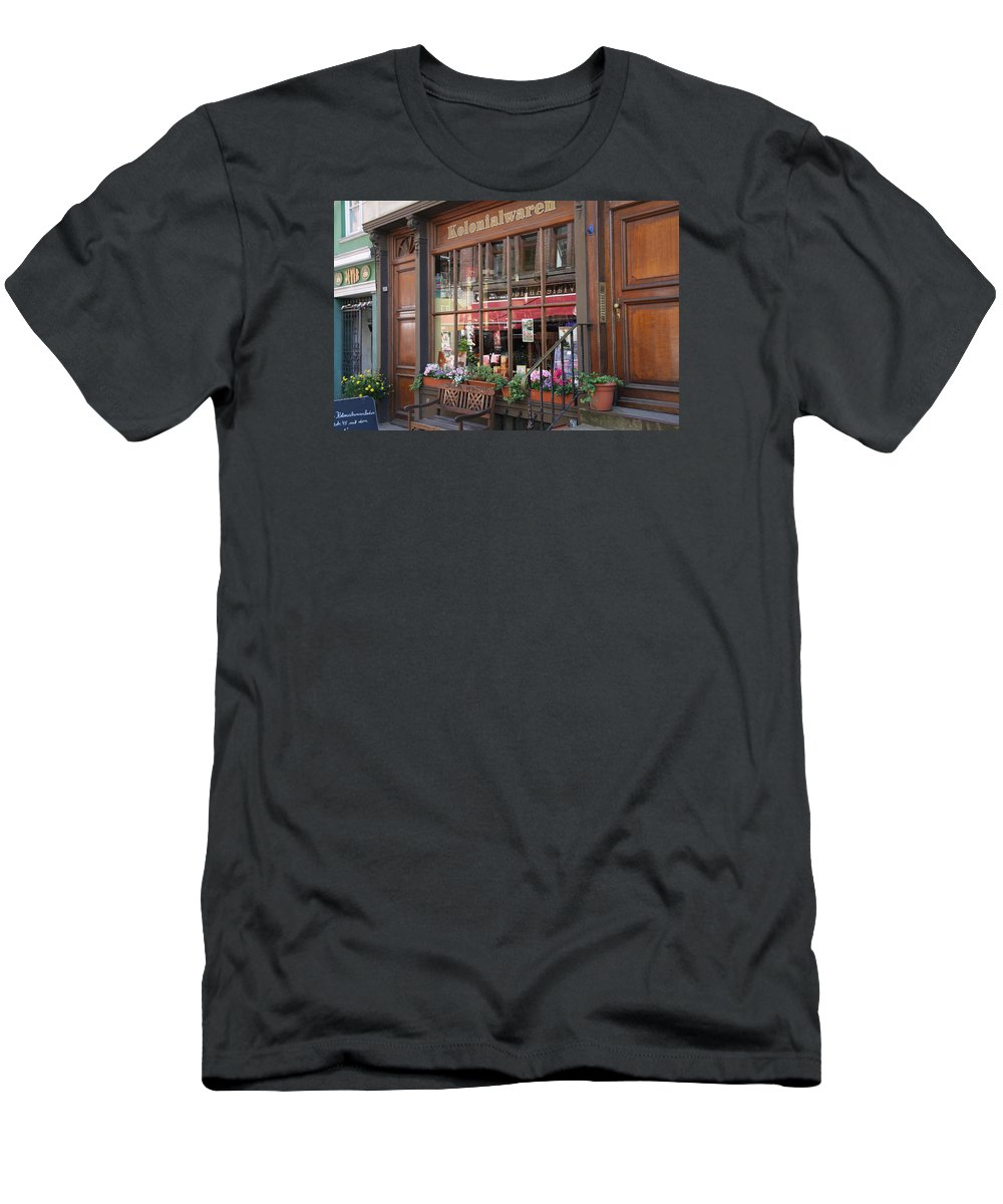 Hamburg Men's T-Shirt (Athletic Fit) featuring the photograph Old Shop Hamburg by Christiane Schulze Art And Photography