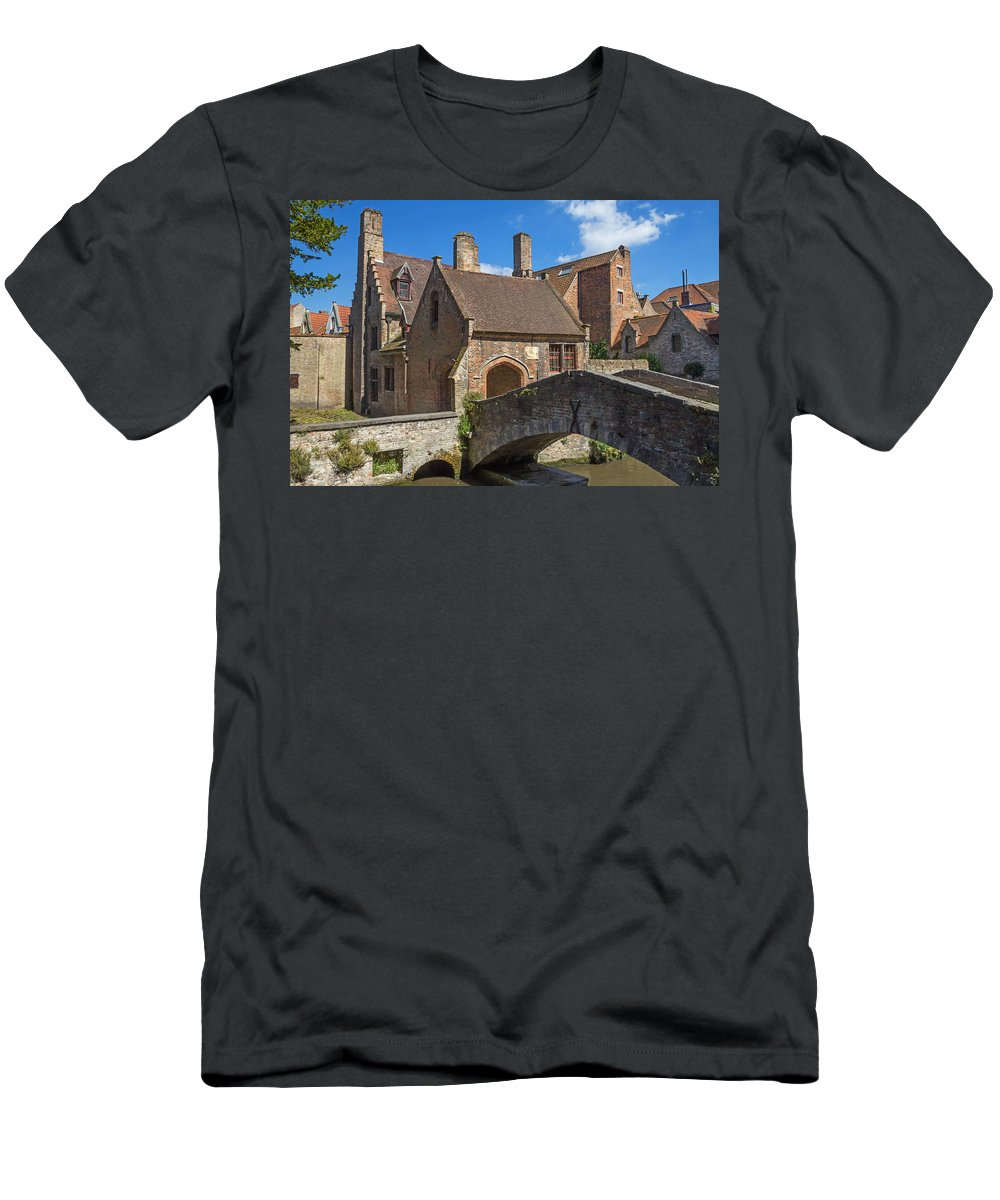 Brick Men's T-Shirt (Athletic Fit) featuring the photograph Old Stone Bridge In Bruges by Jaroslav Frank