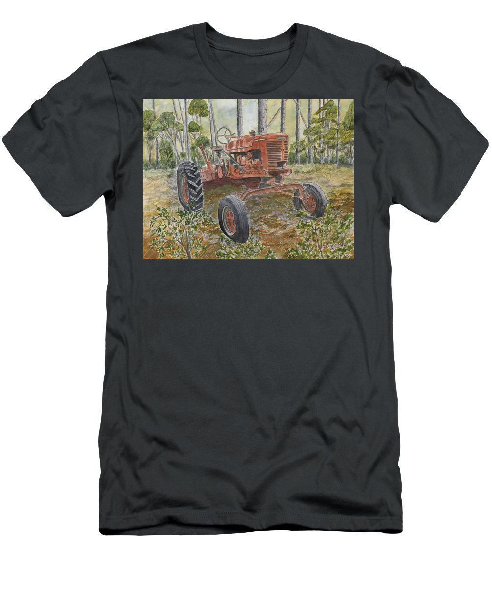 Old T-Shirt featuring the painting Old Tractor Vintage Art by Derek Mccrea