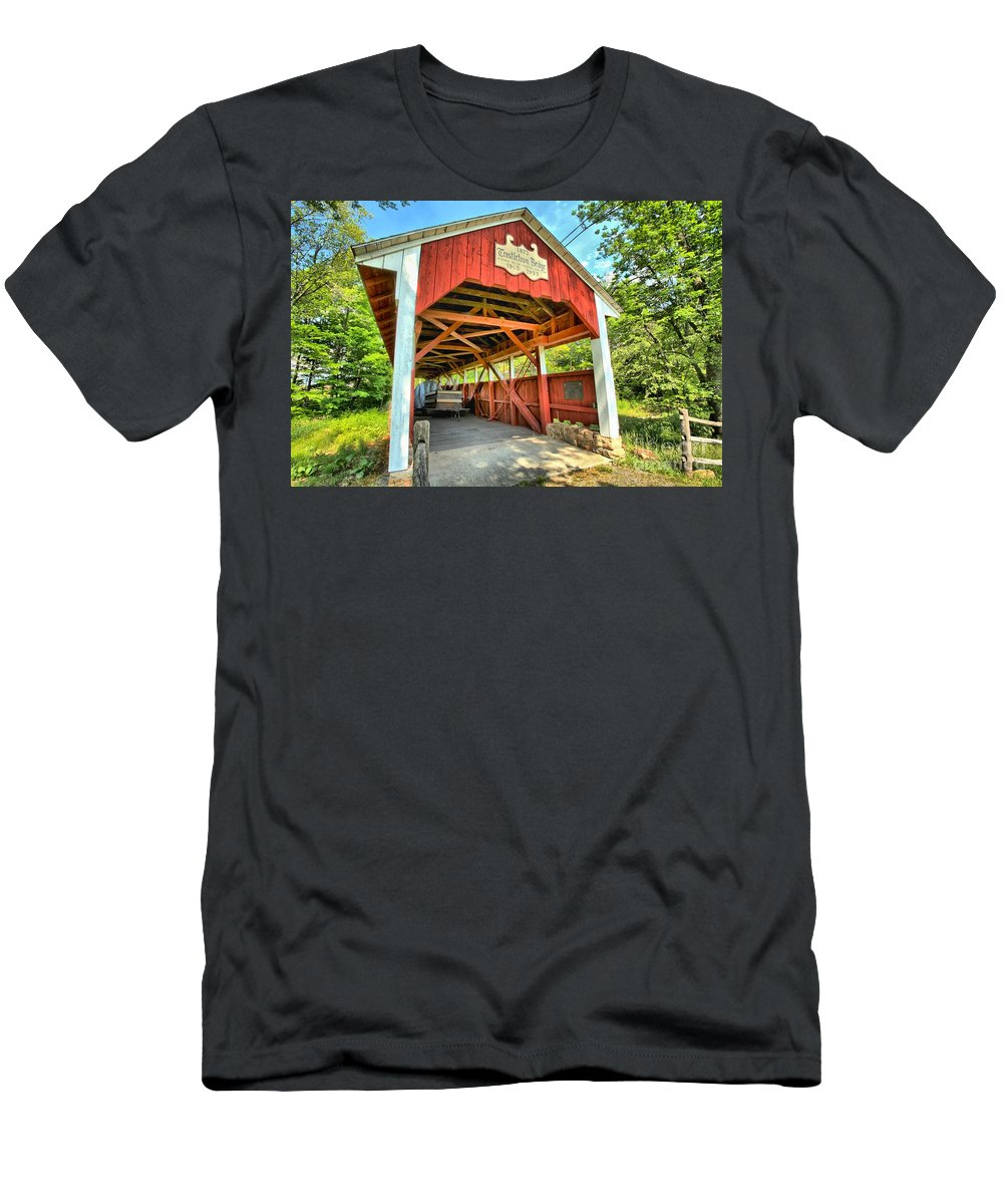 Covered Bridge Men's T-Shirt (Athletic Fit) featuring the photograph Old Trostle Town Bridge by Adam Jewell