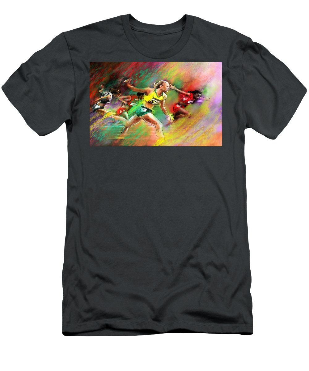 Sports Men's T-Shirt (Athletic Fit) featuring the painting Olympics 100 Metres Hurdles Sally Pearson by Miki De Goodaboom