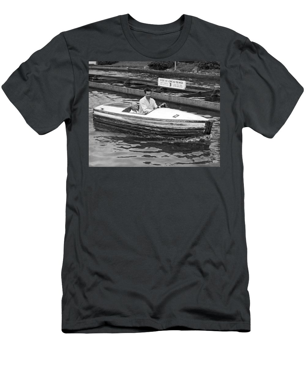 1950's Men's T-Shirt (Athletic Fit) featuring the photograph On A Boat Ride At Playland by Underwood Archives
