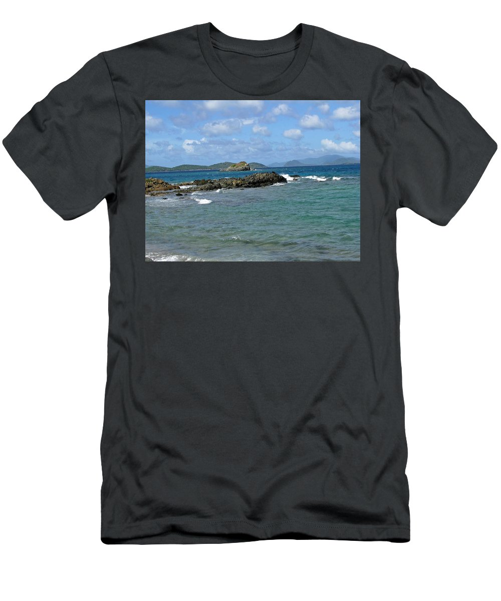 Sapphire Beach Men's T-Shirt (Athletic Fit) featuring the photograph On The Rocks 01 by Pamela Critchlow