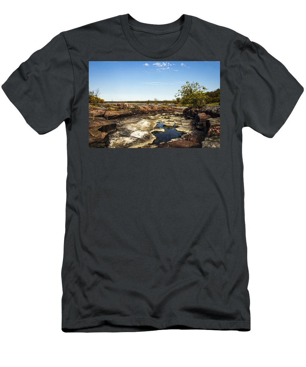 Pinawa Men's T-Shirt (Athletic Fit) featuring the photograph On The Rocks by Sandra Parlow