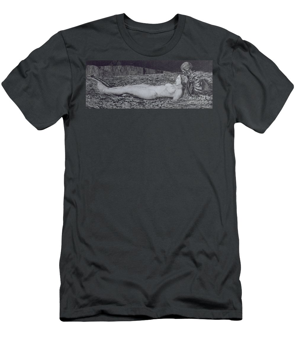 Nude Men's T-Shirt (Athletic Fit) featuring the painting One Corpse by August Bromse
