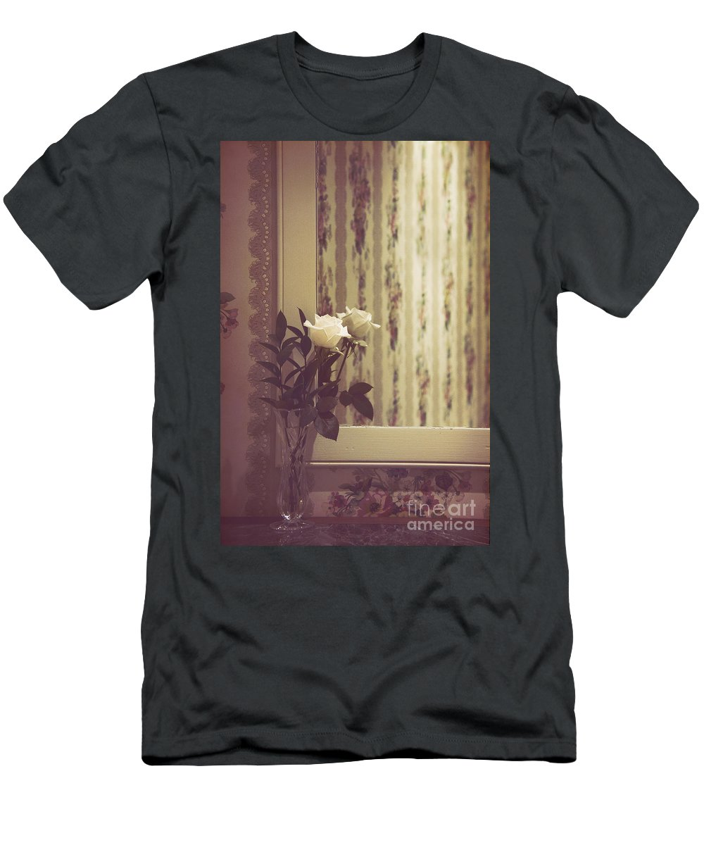 Rose Men's T-Shirt (Athletic Fit) featuring the photograph One White Rose by Margie Hurwich