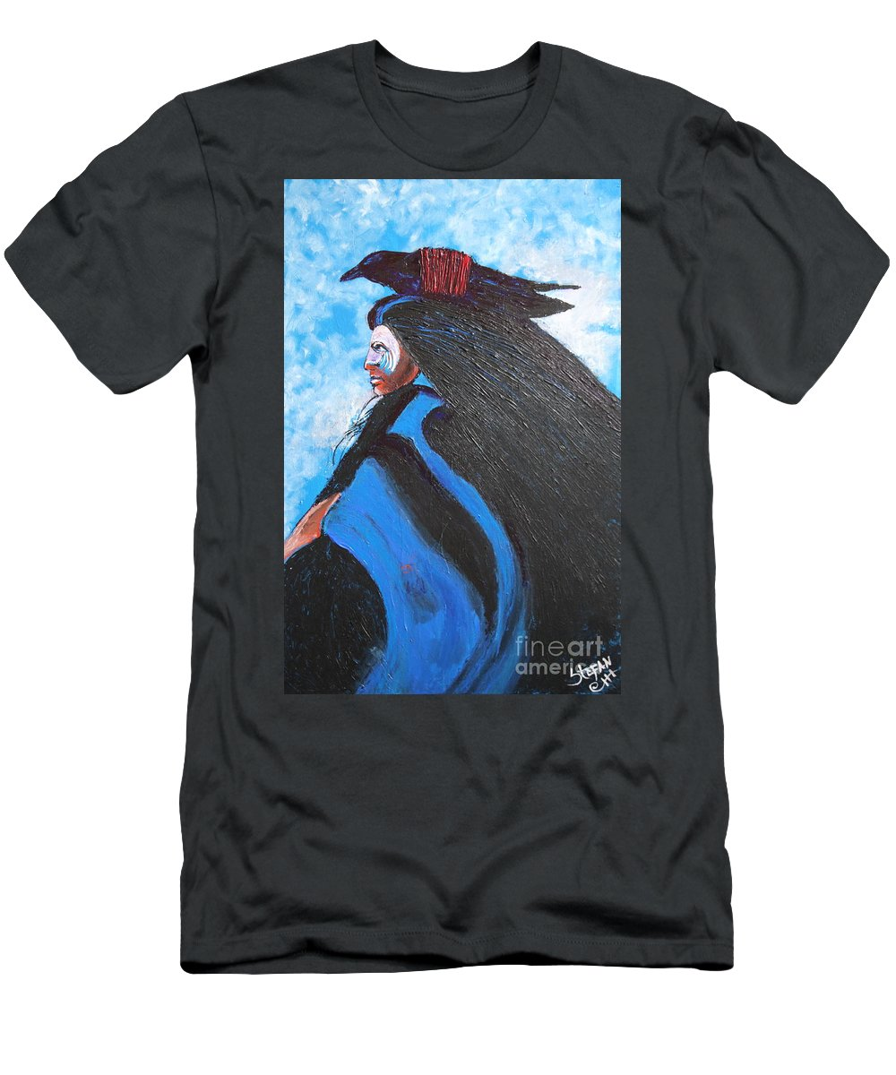 Impressionism Men's T-Shirt (Athletic Fit) featuring the painting One With Raven by Stefan Duncan