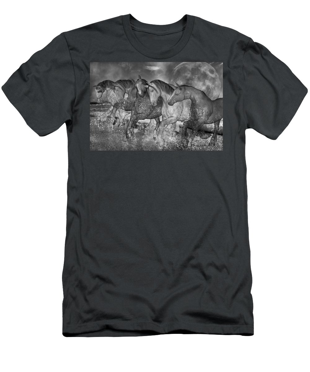 Horse Men's T-Shirt (Athletic Fit) featuring the digital art One With The Sea by Betsy Knapp