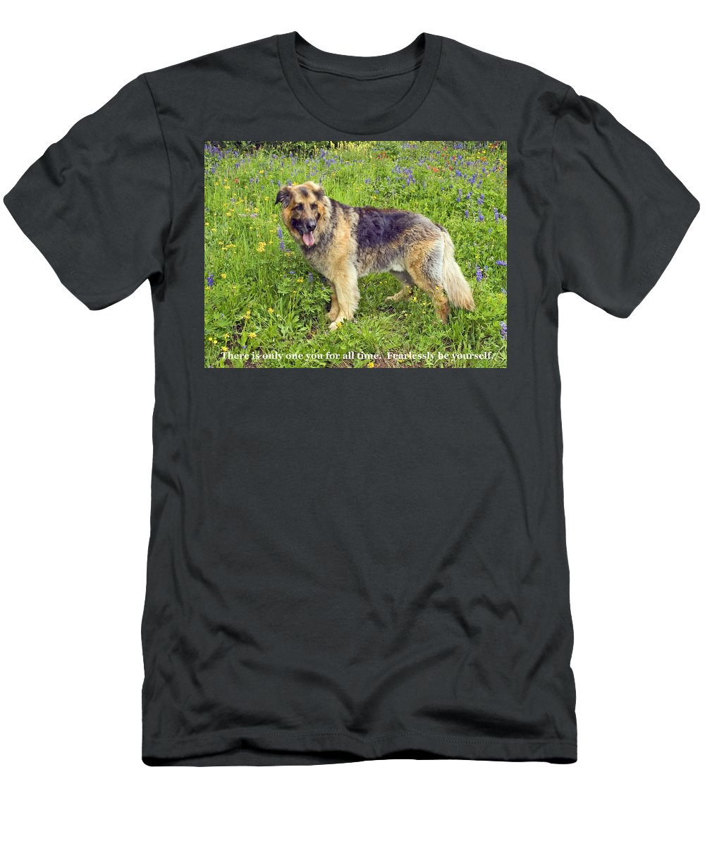 Large Dog Standing Men's T-Shirt (Athletic Fit) featuring the photograph Only One You by Sally Weigand