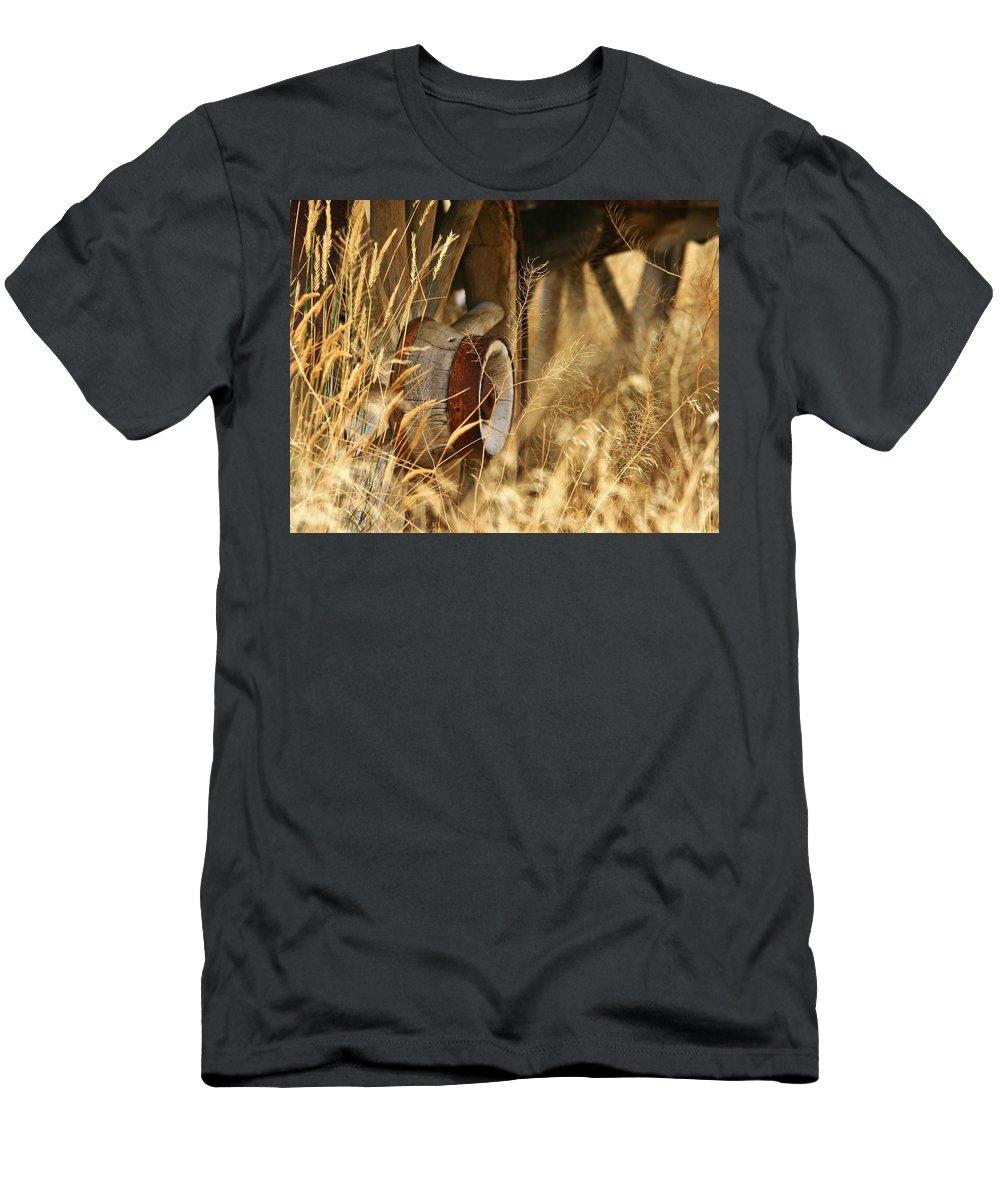 Wheel Men's T-Shirt (Athletic Fit) featuring the photograph Onward We Go by Karen Jones