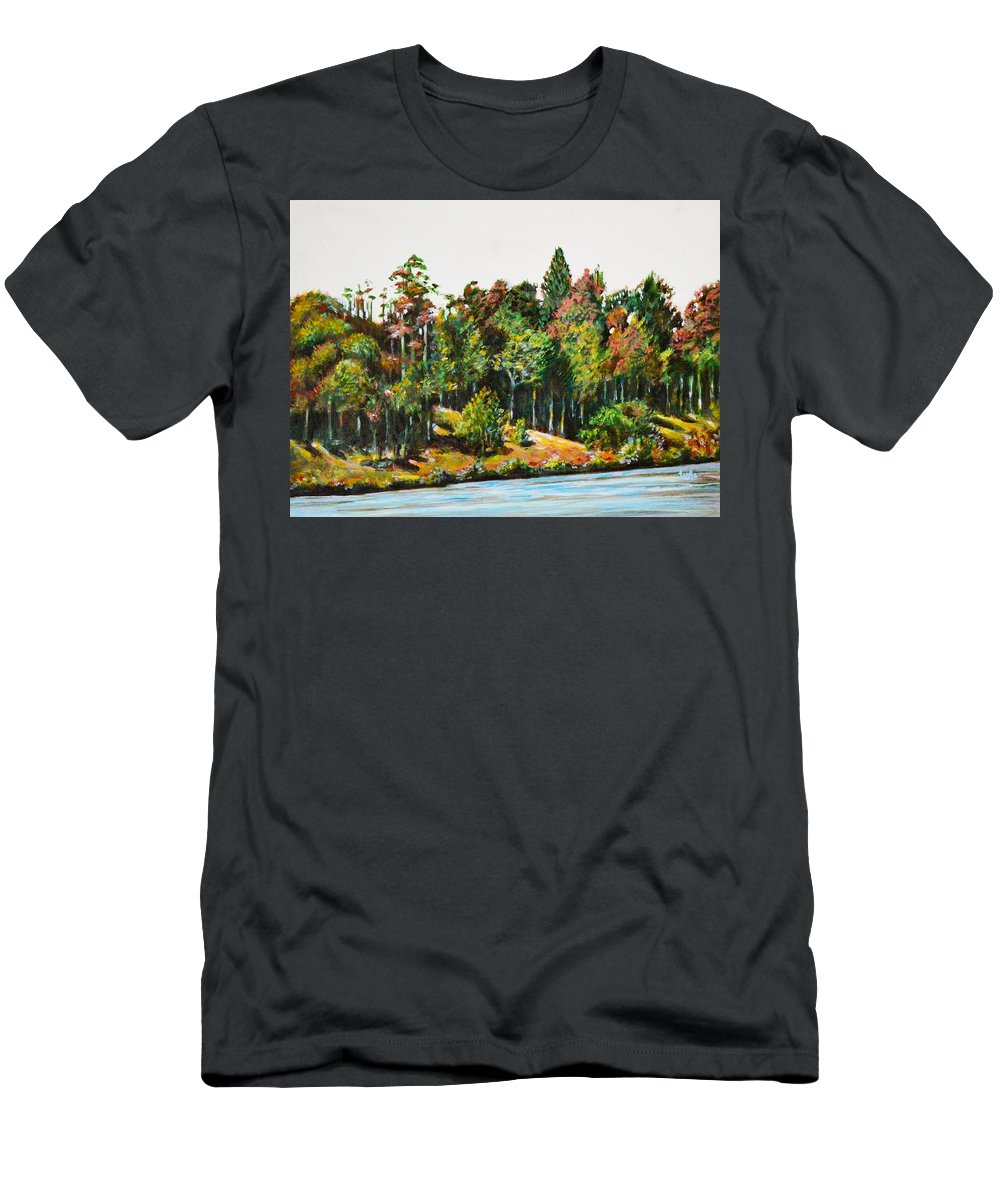 Ooty Landscape Men's T-Shirt (Athletic Fit) featuring the painting Ooty Landscape by Usha Shantharam
