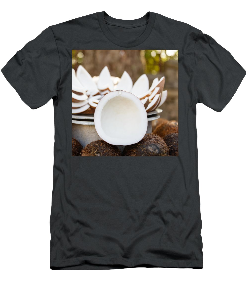Coconut Men's T-Shirt (Athletic Fit) featuring the photograph Opened Coconuts On The Market by Dutourdumonde Photography