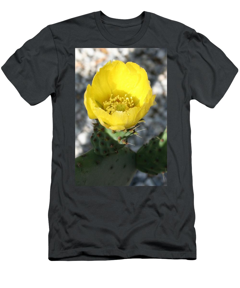 Yellow Men's T-Shirt (Athletic Fit) featuring the photograph Opuntia Ficus-indica Flower Of The Prickly Pear by Taiche Acrylic Art
