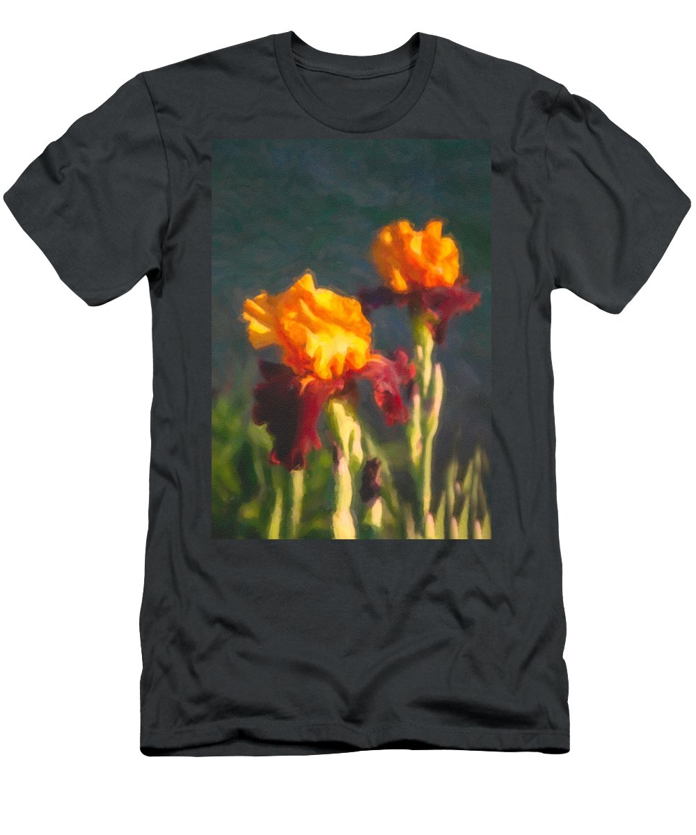 North Cascades Men's T-Shirt (Athletic Fit) featuring the painting Orange Bearded Irises by Omaste Witkowski