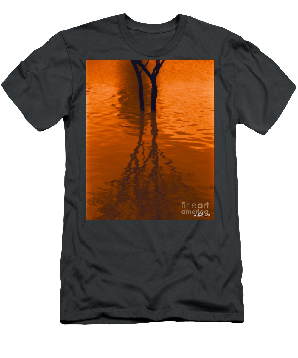 Water Men's T-Shirt (Athletic Fit) featuring the photograph Orange Glow by Heather Kirk