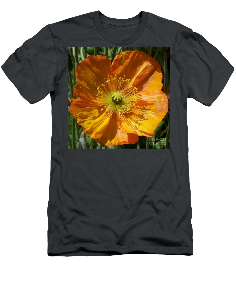 Poppy Men's T-Shirt (Athletic Fit) featuring the photograph Orange Poppy by Geraldine Cote