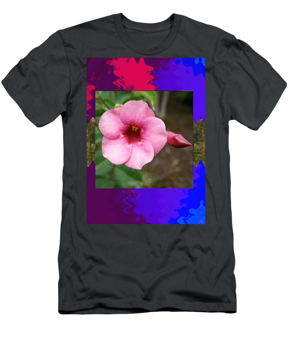 Orchid Men's T-Shirt (Athletic Fit) featuring the mixed media Orchid Pink Flower Photographed At Costa Rica Sensual Smile Graphic Dital Painted Background Ideal by Navin Joshi