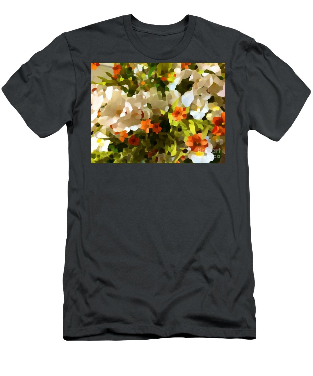 Flower Men's T-Shirt (Athletic Fit) featuring the photograph Orchids And Hydrangea by Saundra Myles