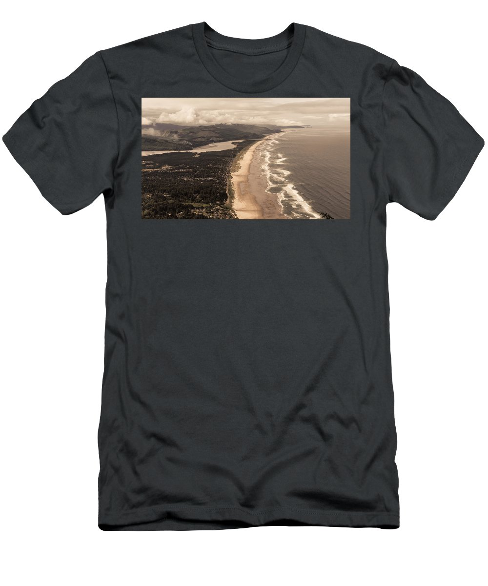 Neahkahnie Mountain Men's T-Shirt (Athletic Fit) featuring the photograph Oregon Coast From Above by Scott Rackers