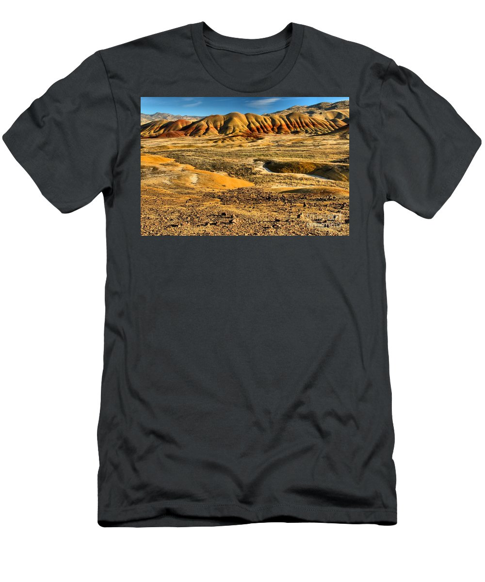 Painted Hills Men's T-Shirt (Athletic Fit) featuring the photograph Oregon Landscape Spectacular by Adam Jewell