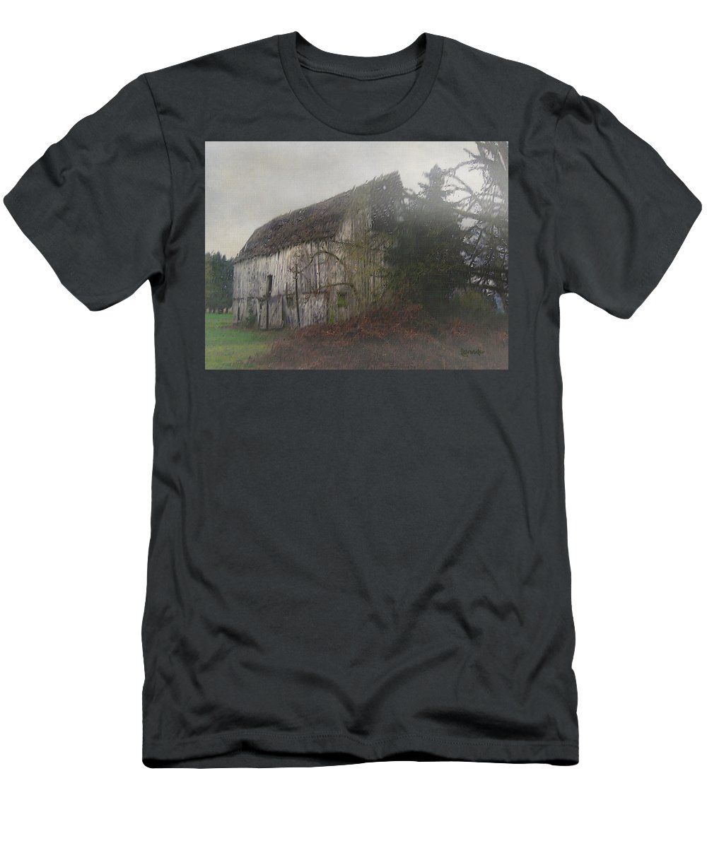 Barn Men's T-Shirt (Athletic Fit) featuring the painting Oregon Relic by RC DeWinter