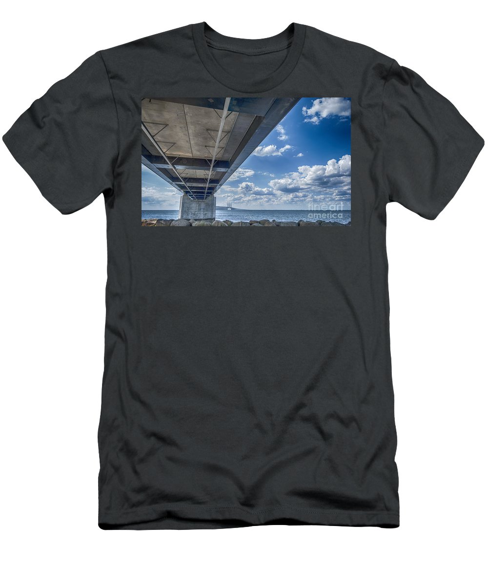 Denmark Men's T-Shirt (Athletic Fit) featuring the painting Oresundsbron Hdr by Antony McAulay
