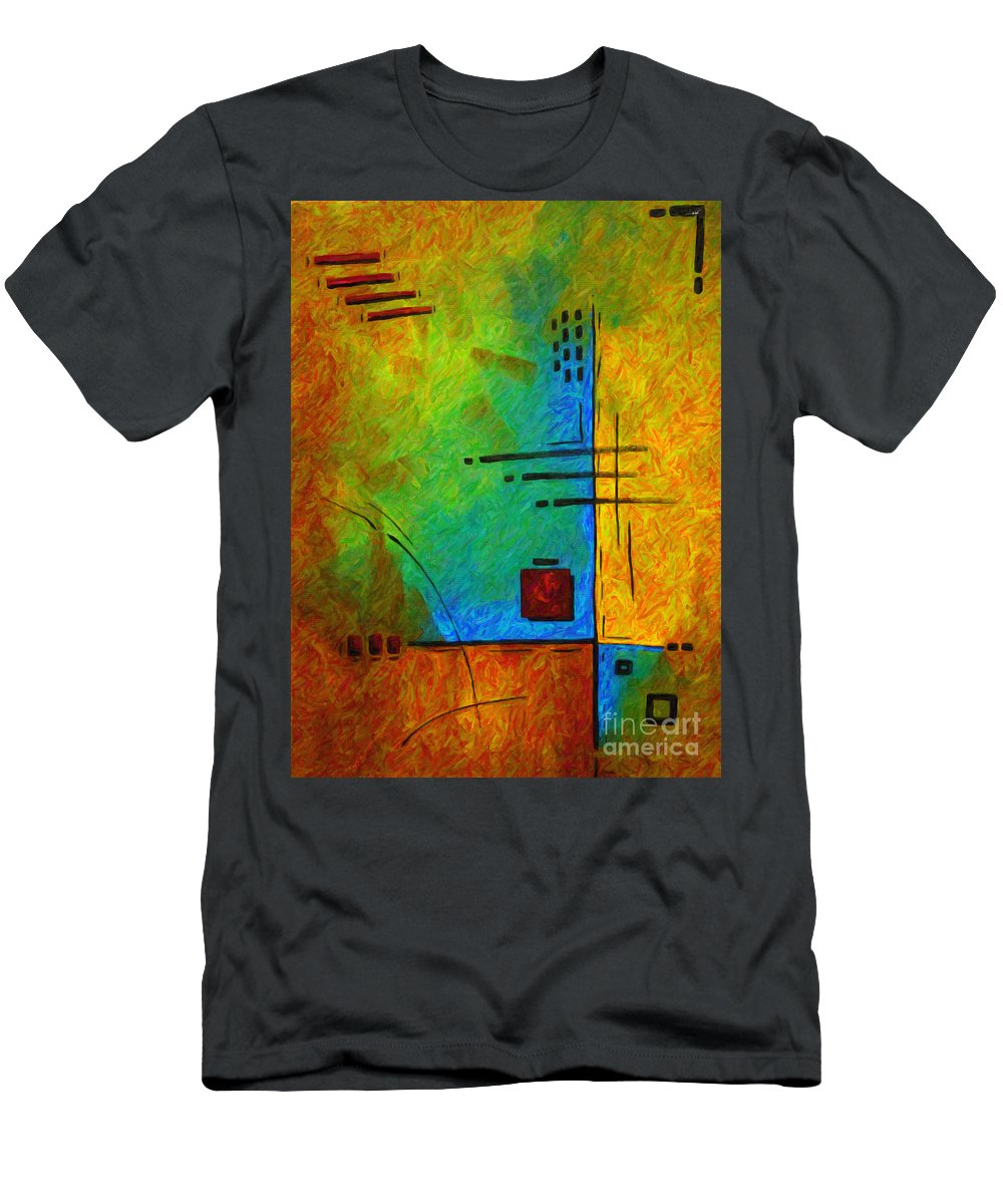 Abstract Men's T-Shirt (Athletic Fit) featuring the painting Original Abstract Painting Digital Conversion For Textured Effect Resonating IIi By Madart by Megan Duncanson