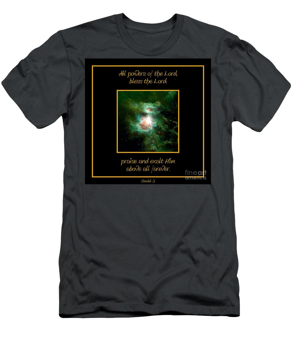 Orion Nebula Men's T-Shirt (Athletic Fit) featuring the photograph Orion Nebula All Powers Of The Lord Bless The Lord Praise And Exalt Him Above All Forever by Rose Santuci-Sofranko