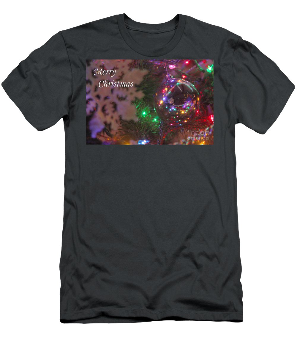 Merry Christmas Men's T-Shirt (Athletic Fit) featuring the photograph Ornaments-2096-merrychristmas by Gary Gingrich Galleries