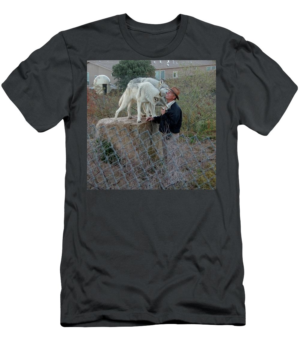 Out Of Africa Men's T-Shirt (Athletic Fit) featuring the photograph Out Of Africa Friendly Wolves by Phyllis Spoor