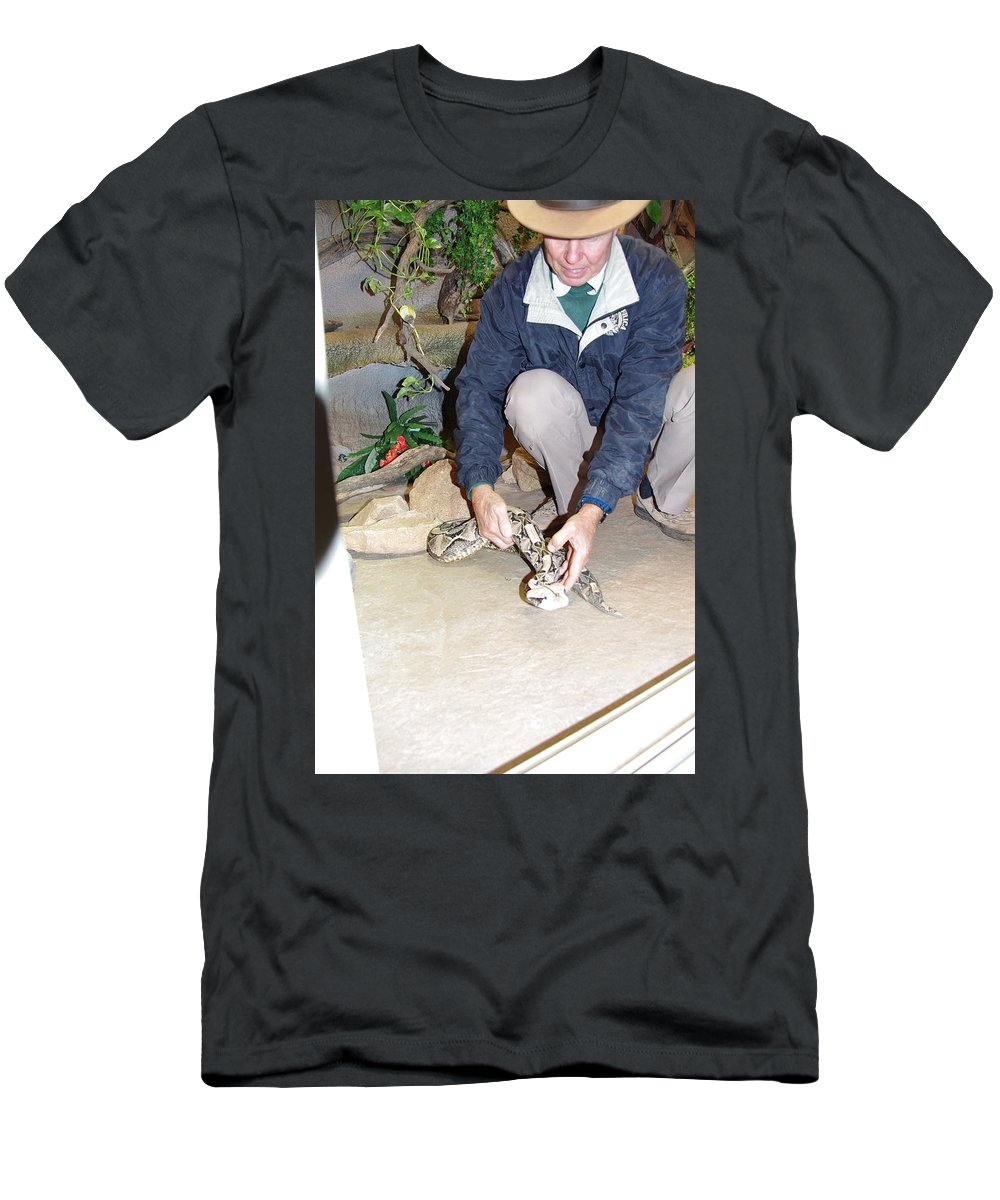 Out Of Africa Men's T-Shirt (Athletic Fit) featuring the photograph Out Of Africa Viper 1 by Phyllis Spoor