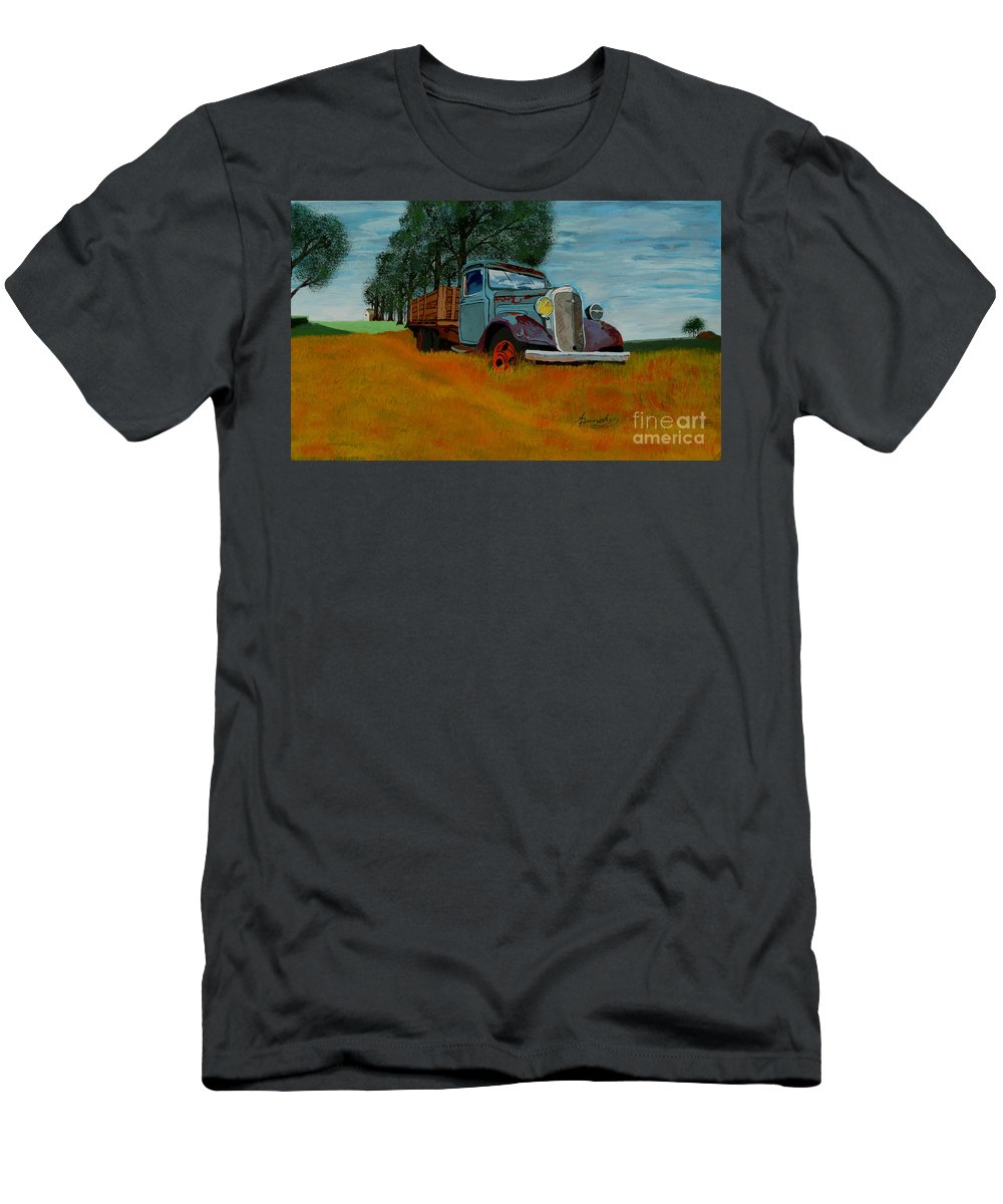 Truck Men's T-Shirt (Athletic Fit) featuring the painting Out To Pasture by Anthony Dunphy