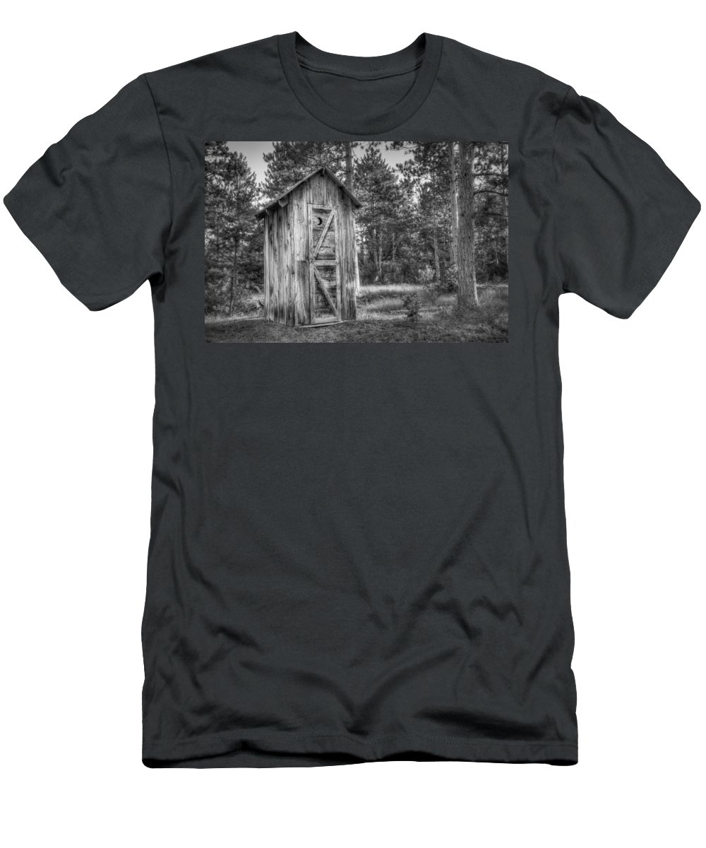 Outhouse Men's T-Shirt (Athletic Fit) featuring the photograph Outdoor Plumbing by Scott Norris