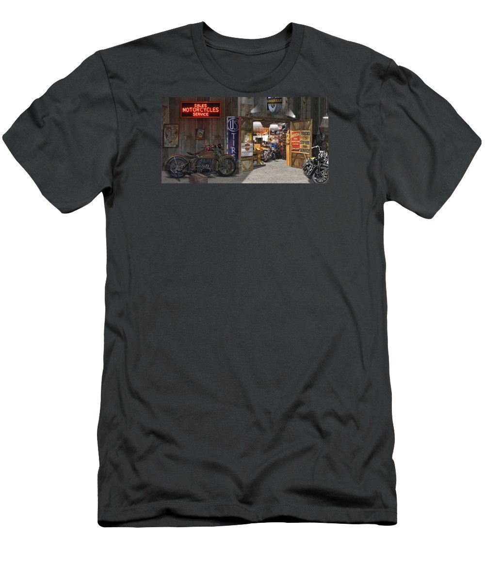 Motorcycle Shop Men's T-Shirt (Athletic Fit) featuring the photograph Outside The Motorcycle Shop by Mike McGlothlen