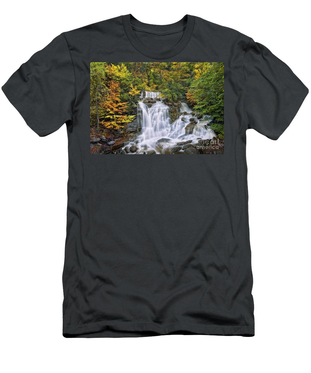 Kaaterskill Falls Men's T-Shirt (Athletic Fit) featuring the photograph Over The Rocks by Claudia Kuhn
